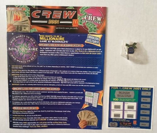 "Pin /& Game Card Mcdonald/'s 2001 /""Who Wants To Be A Millionaire/"" Crew Newsletter"