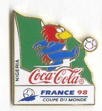 1998 WORLD CUP COCA COLA NIGERIA FLAG PIN CARRIED BY MASCOT FOOTIX NOS