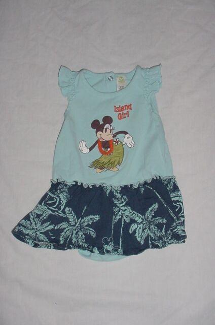 EUC Disney Store MINNIE & MICKEY MOUSE Blue Hawaiian Cruise Dress 18 Months