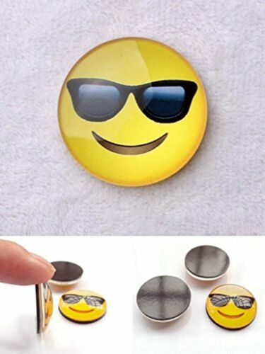 PartyErasers One Glass Cabochon Emoji Fridge Magnet Smiling Face With Sunglasses