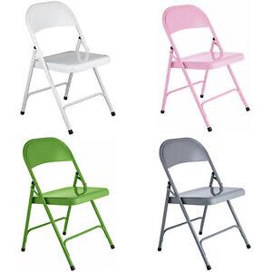 Folding Metal Chair Office Garden Bar Spare Seat Choice of Colour