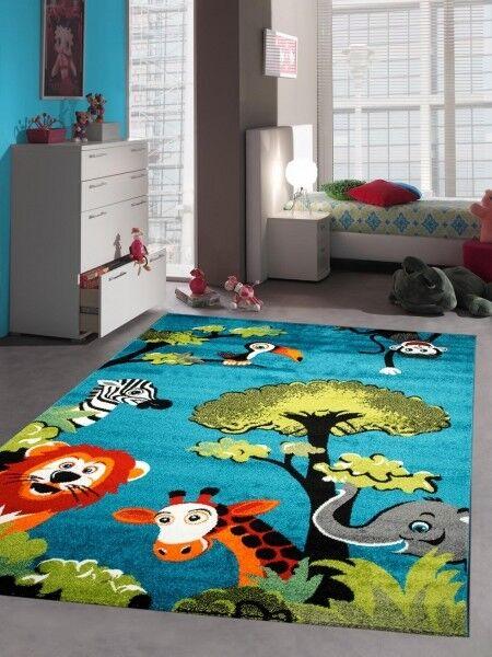 Kinderteppich Spielteppich Kinderzimmer Teppich Zootiere Elefant Giraffe Löwe Ze