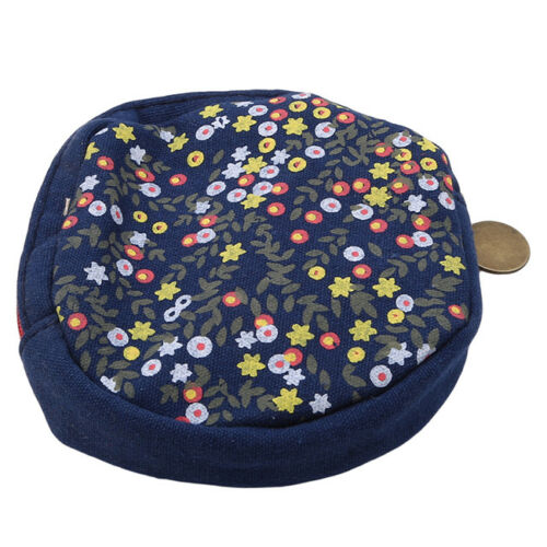 Simple Style Women Kid Storage Cute Flower Floral Coin Round Bag one