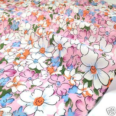 "per metre Maisie pretty pink floral polycotton fabric width 44"" (112cm)"
