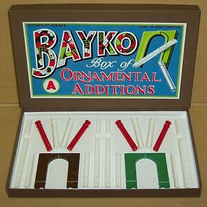 RARE-PRE-WAR-ORIGINAL-1938-VINTAGE-BAYKO-ORNAMENTAL-ADDITIONS-SET-A-REPRO-BOX