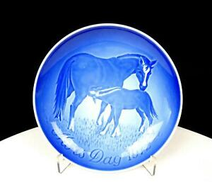 """BING & GRONDAHL B&G DENMARK MORS DAG HORSES 5 7/8"""" MOTHERS DAY WALL PLATE 1970"""