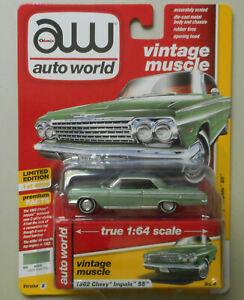 1962-Chevy-Impala-SS-Laurel-Green-AUTO-WORLD-DIE-CAST-1-64-CAR-w-BOX