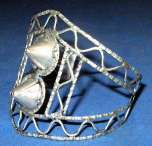Bracelet-Spike-Cuff-Afghan-Kuchi-Tribal-Alpaca-Silver-3-034-dia-NEW