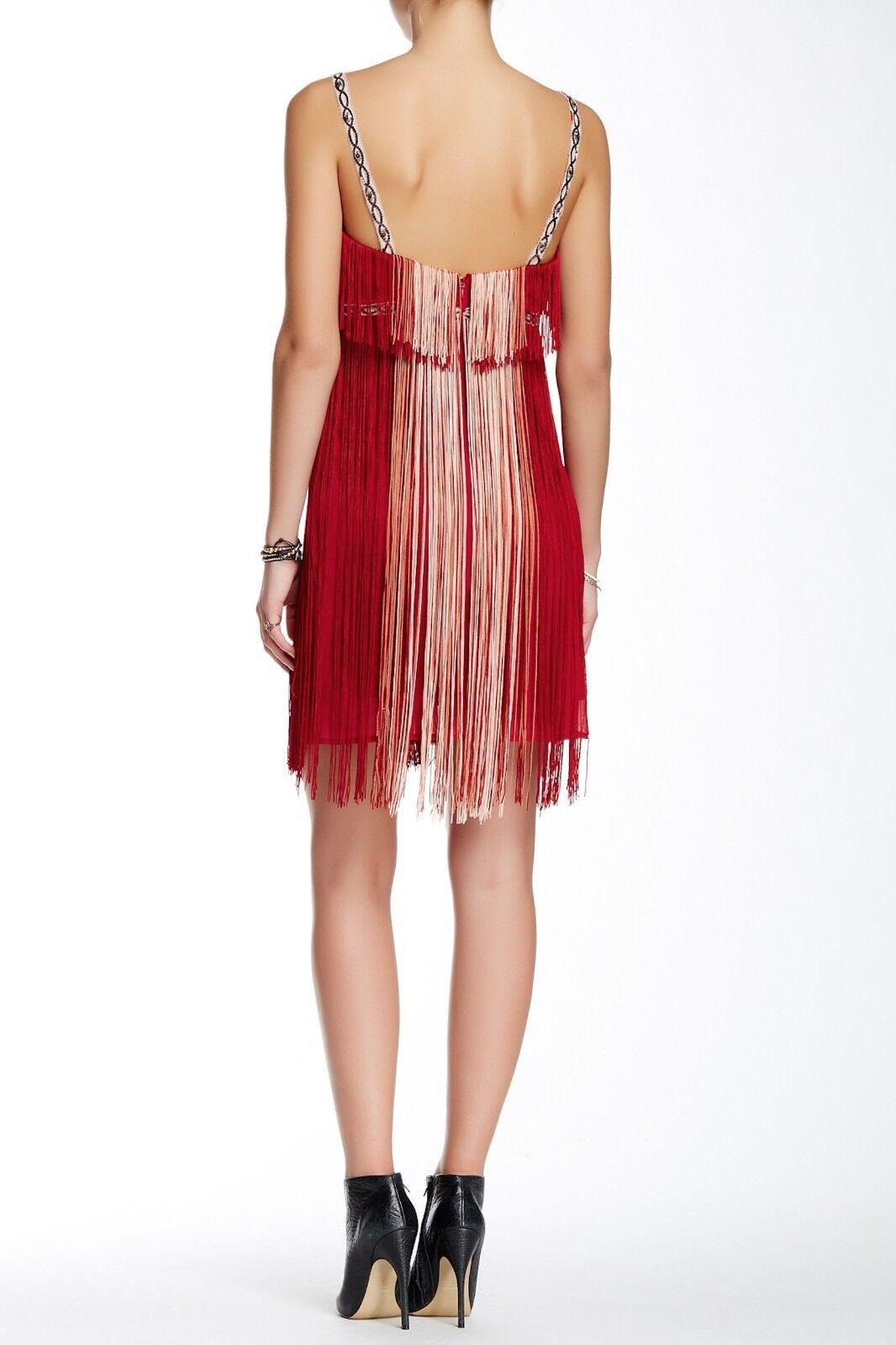 FREE PEOPLE Art Deco Deco Deco Fringe Festive Dress Red Combo Sz 6  400 NWT F796Y291S a31abb