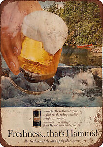1960s Hamm/'s Beer Vintage Look Reproduction Metal Sign 8 x 12