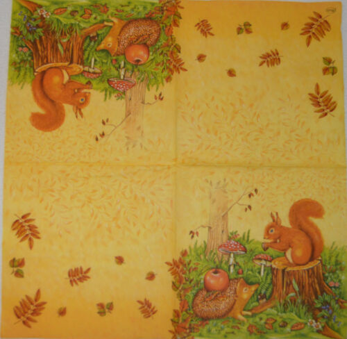 PAPER TABLE NAPKINS FOR CRAFT VINTAGE SQUIRL AUTUMN DECOUPAGE TEA PARTIES 364