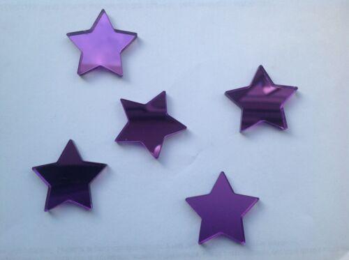 Purple Star Shaped Acrylic Mirror Embellishments 2cm x20