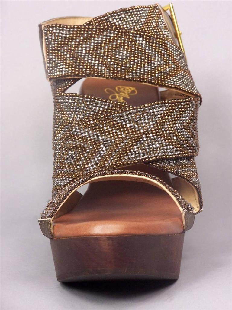 MATT BERNSON Aztec Wedge Sandales Bronze Metallic Beaded criss cross Sandales Wedge Ethnic Boho 6c6ec6
