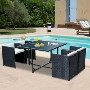 Summer Clearance 5pc Patio Furniture Dining Set with Cushion Outdoor Black