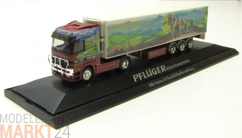 HERPA MB Actros Euro-Kühlkoffer semi-remorque camion pflüger isolation 1 87
