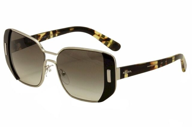 24da38044d08 Prada Women's SPR 59S SPR59S 1AB0/A7 Silver/Black Fashion Sunglasses 54mm