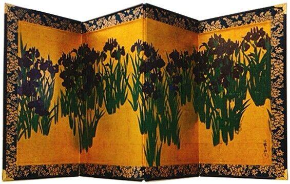 Mini BYOBU folding screen, Tischparavent, 23,5 cm x 47 cm  Irises, Ogata Korin