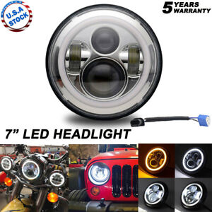 DOT-7inch-Round-LED-Headlight-w-Halo-Angle-Eyes-Fit-Jeep-Wrangler-JK-LJ-TJ