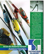 Publicité Advertising 1986 Equipement de ski Techniciens du Sport