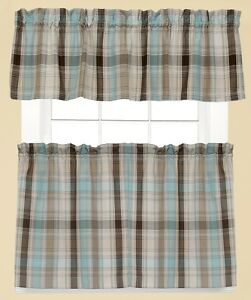 Image Is Loading Cooper Blue Plaid Kitchen Curtains Brand New