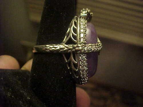 Merveilleux Lavande Jade Ovale Joy HSN Dragon Anneau Argent sterling zircon cubique Taille 7