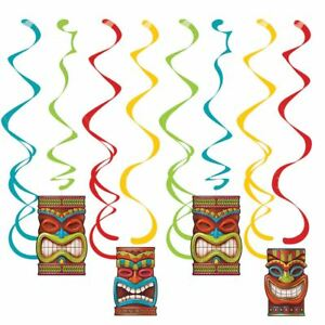 Tiki-Time-8-Ct-Dizzy-Danglers-Hanging-Decorations-Summer-Luau-Pool-Party