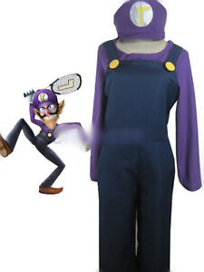 Top-grade Super Mario Bros Waluigi Jumpsuit Cosplay ...Waluigi And Wario Costumes