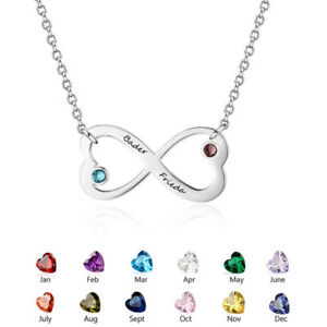 Image Is Loading Personalised Engrave Name Pendant Birthstone Necklaces Birthday Gift