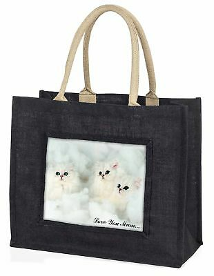 Chinchilla Kätzchen' Liebe, die sie Mama' große schwarze Einkaufstasche