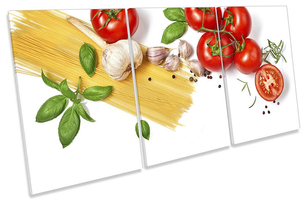 Fresh Kitchen Food Print CANVAS WALL ART TREBLE Picture Weiß