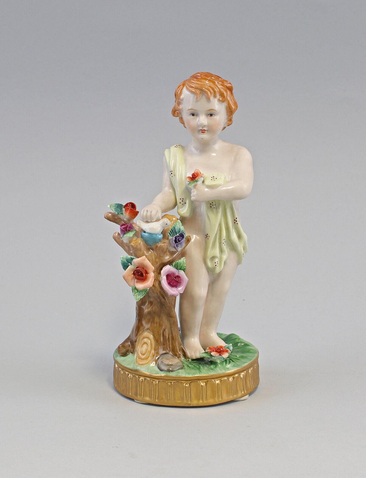 Porcelana figura Ángel putto con pájaro en el nido esplendido historicismo nuevo 9987235