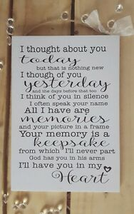 Image Is Loading Handmade Plaque Sign Gift Present Loved One Memory