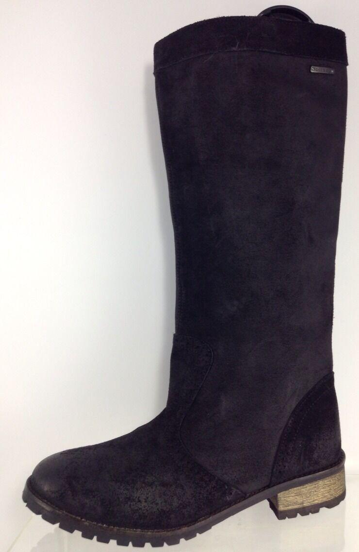 Diesel Mujeres Cuero Negro botas a la rodilla 10