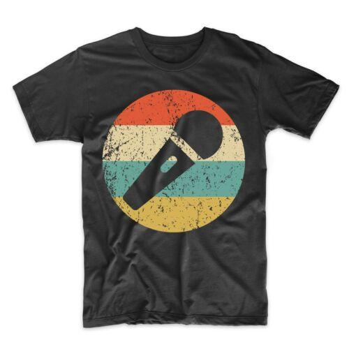 Retro Microphone Icon T-Shirt Singer Shirt Men/'s Karaoke Singer Shirt