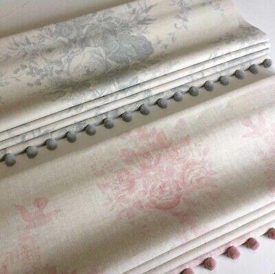 New Kate Forman Any Design Linen Fabric Roman Blind Roses