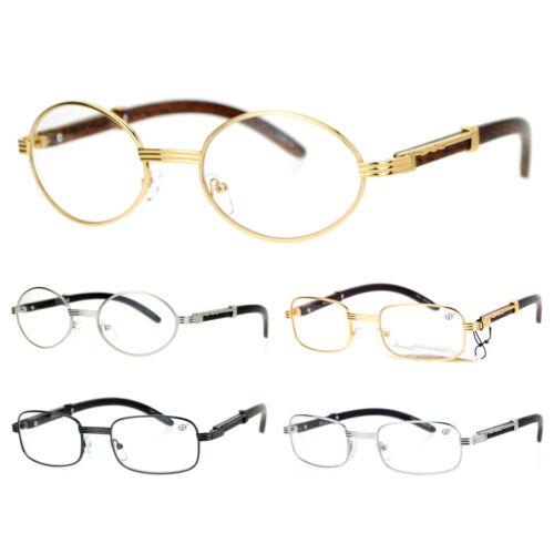 SA106 Retro Wood Buffs Vintage Style 90s Gangster Metal Frame Eye Glasses