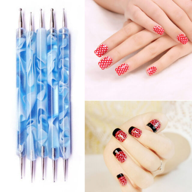 2 Way Marbleizing Dotting Manicure Tools Pen Nail Art Paint Dot Draw Pen Deco