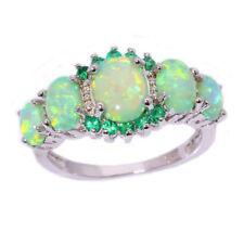 Women Lady Green Fire Opal & Emerald Jewelry Charm Gems Silver Ring Size 7/8/9