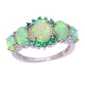 Women-Lady-Green-Fire-Opal-amp-Emerald-Jewelry-Charm-Gems-Silver-Ring-Size-7-8-9