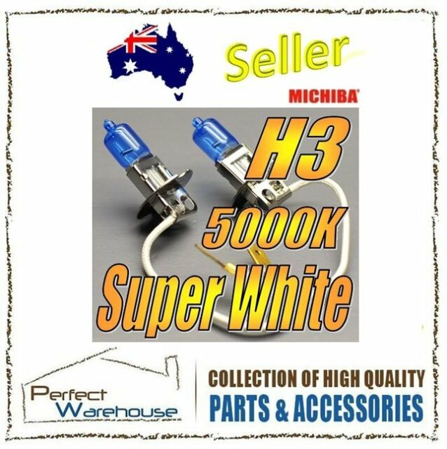 12V H3 55W 5000K Michiba Super White Halogens Light Bulb High Low Beam Fog Lamp