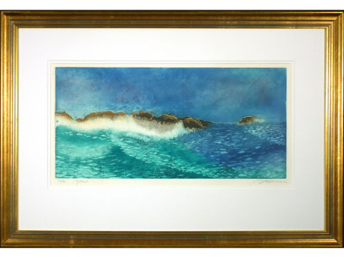 'Waves', Contemporary Limited Edition Aquatint. Framed. Edition of 80. Seascape