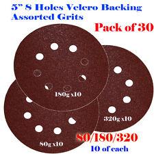 "5"" 8 Hole Mix Grit Sanding Disc Random Orbit Hook & Loop Sandpaper Sander Palm"