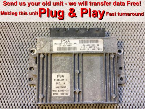 Gratuit Programmation CITROEN PEUGEOT 1.4 9646988680 9644625680-00 écus Plug /& Play *