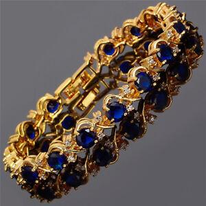 Xmas-Rhinestone-Crystal-Round-Yellow-Gold-GP-Tennis-Statement-Bracelet