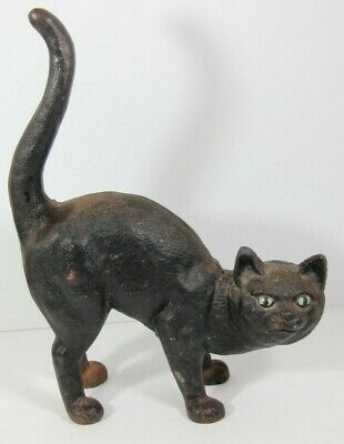 Antique Cast Iron Door Stop Black Cat Arched Back Doorstop Halloween Hubley  | EBay