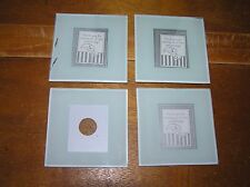 Lot of 4 Clear Glass Square Coasters that You Can Put in A Picture or Message –