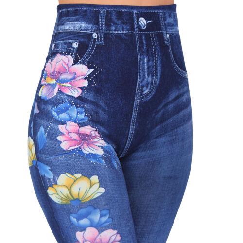 High Waist Jeans Look Leggings Fleurs Strass Washed DETERIORE Pantalon simili
