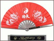 Tai Chi Red Metal Steel Kung Fu / Wushu Martial Arts Fighting Fan Dragon NEW