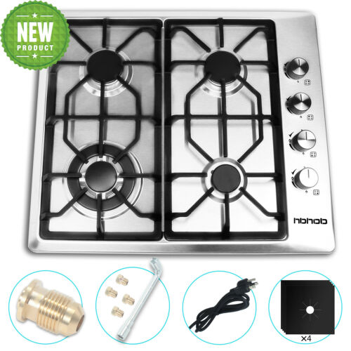 24 inches Gas Cooktop in Stainless Steel New 4 Burners Stove Built in Cooker Hob