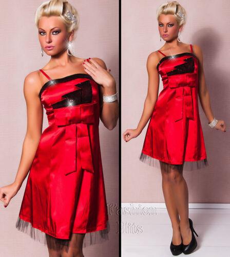 TRauM...COCKTAILKLEID  ABENDKLEID  Satin PETTICOAT Kleid mit Pailletten 34 36 38